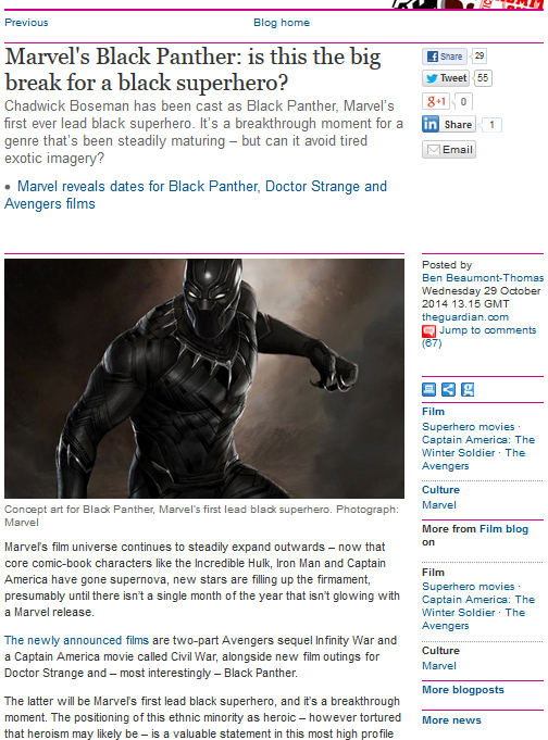 Black Panther coverage by Gdn